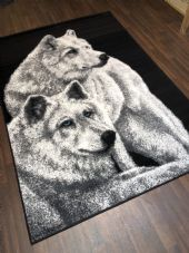 Modern Rug 8x5ft 160x230cm Woven Black-Grey Good Quality Wolves Stunning Design